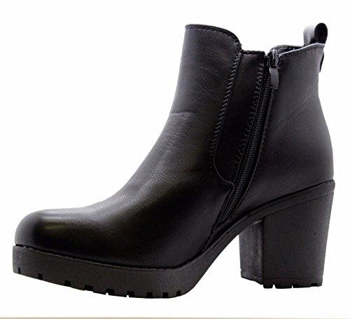 Chelsea Señoras Fornido Tobillo 36 41 Tamaño Tacones Noir Único Faux Saute Boots Bloquear Styles Cuir Soufflet Apretón 5t8XqX