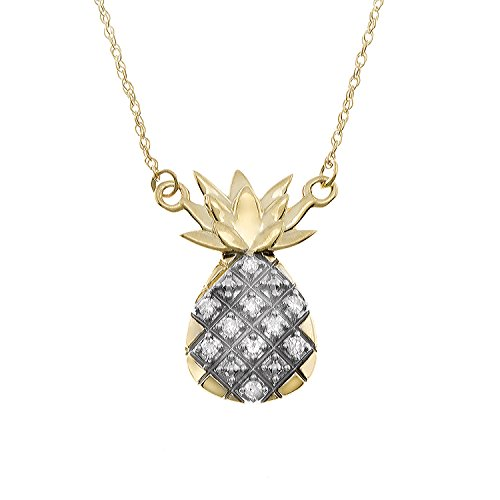 JewelExclusive 10K Yellow Gold 1/10cttw Natural Round-Cut Diamond (I-J Color, I2-I3 Clarity) Pineapple Necklace, 18