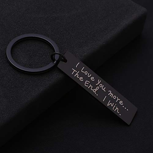 Stainless Steel Keychain, Gift for Couple, I Love You Most The End I Win, Black