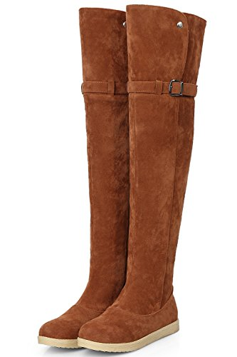 Warm Faux Boots Over Brown By the Buckle BIGTREE Winter Comfortable Boots Knee Fur Snow Shoes Women wqtXT8H