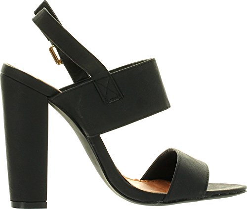 X2b Fay-1 Women's Round Toe Buckle Ankle Strap Chunky Heel Dress Sandals,Black,10