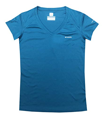 Columbia Women River Chill II Omni-Freeze Zero Athletic V-Neck T-Shirt (S, Steel Blue)