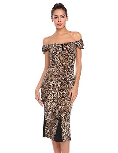Hüfte Kurzarm Kleid Schlank Square Pagacat Leopard Paket Frauen Casual Bodycon Kragen Muster qWnII7Yvw