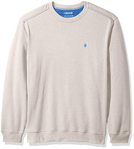 (IZOD Men's Advantage Performance Long Sleeve Solid Fleece Soft Crewneck Pullover, Oatmeal, Large)