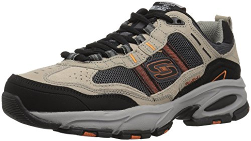 Skechers Sport Men's Vigor 2.0 Trait Memory Foam Sneaker, Taupe/Black, 10 M US