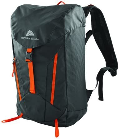 Ozark Trail Lightweight Durable 28 Liter Atka Hydration Daypack for Outdoors, Biking, Hiking, Camping Gray Black Orange