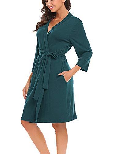 BLUETIME Women Kimono Robes Cotton Lightweight Short Robe Knit Bathrobe Soft Sleepwear V-Neck Ladies Loungewear S-XXL (L, Dark Green)