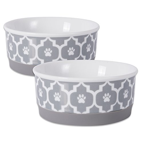 DII Bone Dry Lattice Ceramic Pet Bowl for Food & Water with Non-Skid Silicone Rim for Dogs and Cats (Small - 4.25' Dia x 2'H) Gray - Set of 2