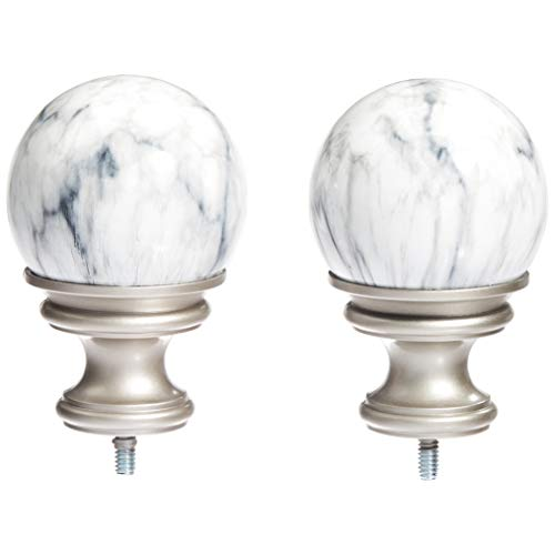 AmazonBasics White Marble Ball Curtain Rod Finials, Set of Two, Nickel