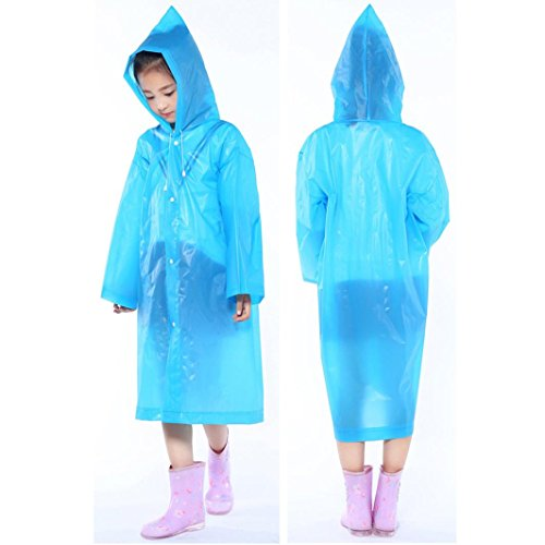 Tpingfe Portable Reusable Raincoats Children Rain Ponchos For 6-12 Years Old, 1PC (Blue) by Tpingfe (Image #1)