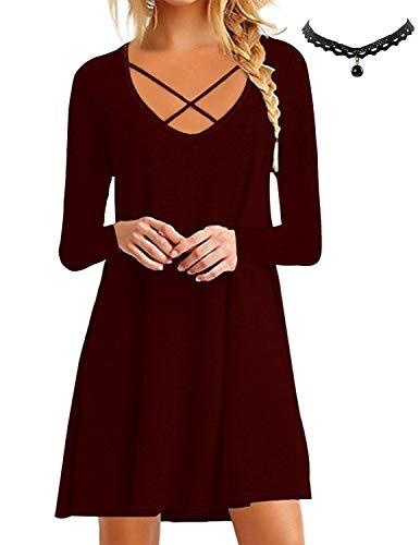 BUOYDM Mujer Vestido de Camiseta Shirt Manga Corta Casual Vestido Corto Túnica Camisa Largo Rojo Vino 01