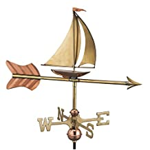 Good Directions Sailboat Garden Weathervane with Garden Pole, Pure Copper