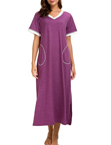 - Dolay Womens Sleepwear Loose Fit Nightgown Full Length Sleep Dress Gown (Purple, Small)