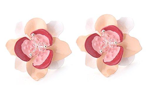 Flower Stud Earrings for Women Pink Flower Enamel Studs with Layered Patels Pink Enamel Flower Earrings