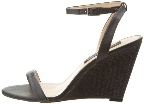 STEVEN by Steve Madden Women's Carolee Wedge Sandal,Black Leather,9 M US