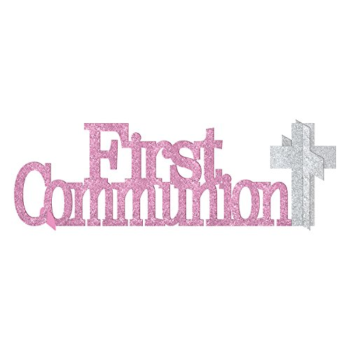 Amscan Party Decoration First Communion Centerpiece Party Supplies, Pink, 4 1/2 x 14 inches ()