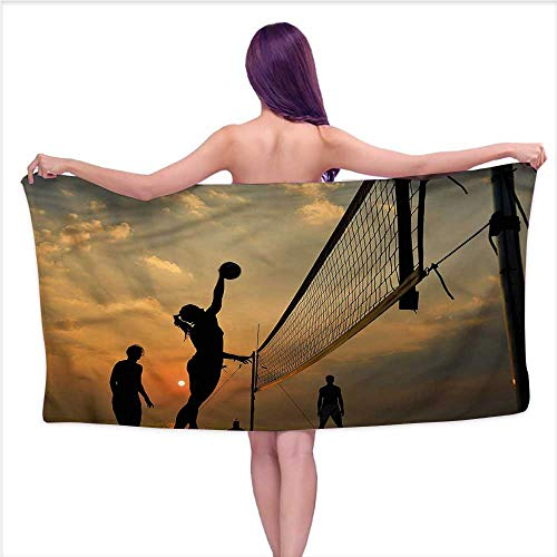 Andasrew Bath Towel Sets Prime Volleyball,Sunset Open with Sky,W10 xL39 for Baby Girl