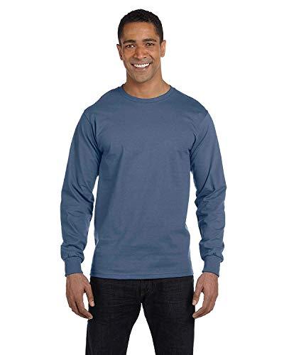 Hanes Long Sleeve Beefy-T T-Shirts (Large, Denim Blue)
