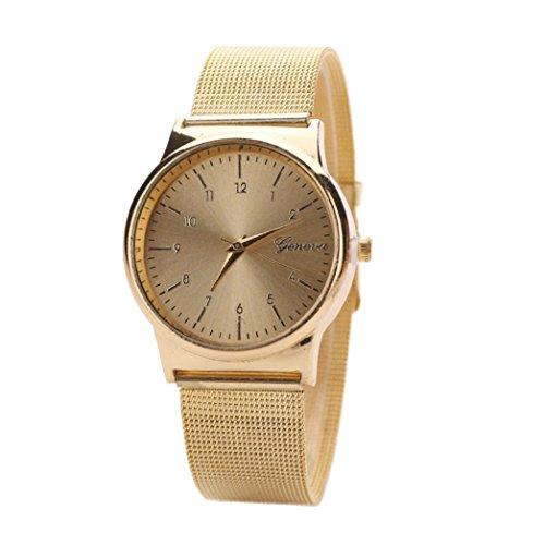 Creazy Fashion Womens Classic Gold Quartz Stainless Steel Wrist Watch (Gold)