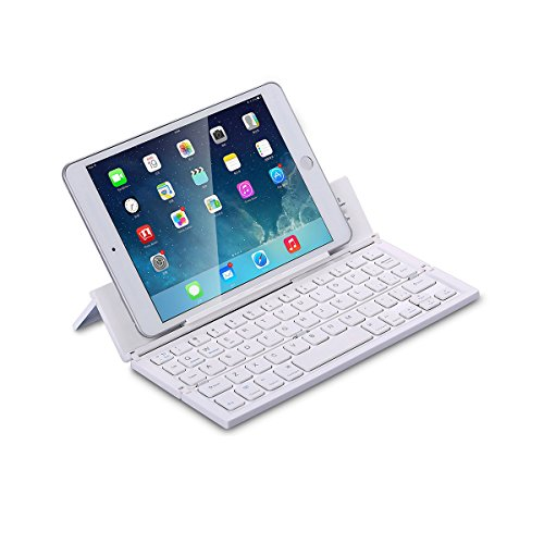LEANINGTECH Portable Foldable Bluetooth Keyboard Aluminum Metal Collapsible Keypad with Kickstand Holder Phone Holder for iPhone, iPad, Samsung, Android, Windows Device- ()