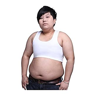 Lesbian Flat Plus Size Big Girl Short Chest Tomboy Built in Elastic with Stronger Band Binder Slim Fit Tank Tops Bra White