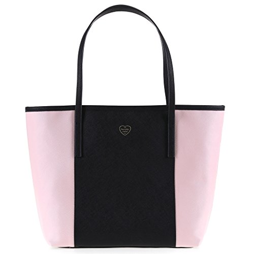 The Lovely Tote Co. Women's PU Color Block Open Tote Shopper Bag Accessory, black/Petal Pink, One size