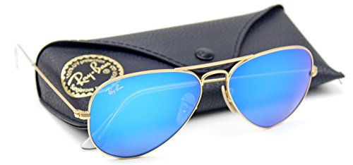 Ray-Ban RB3025 Unisex Aviator Sunglasses Mirrored (Matte Gold Frame/Blue Mirror Lens 112/17, - Blue Bans Aviator Ray