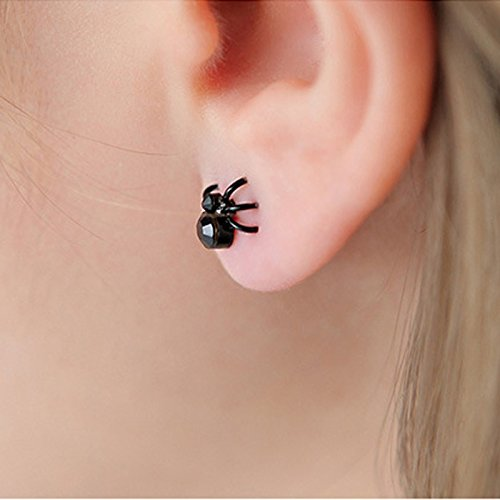 Autumn Water Fashion Women And Men Cute Earring Black Tiny Stud Spider Lovely Cuff Earrings For Lady Girl (Color Black)