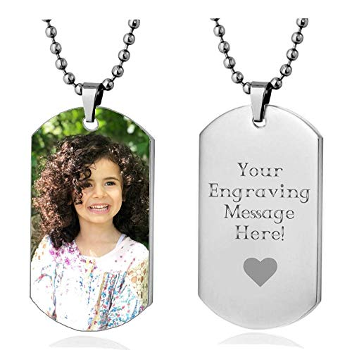 Interway Trading Personalized Custom Photo High Polished Color Engraved Dog Tag Necklace Pendant and 24 inch Stainless Steel Chain, Velvet Giftpouch and Keyring -