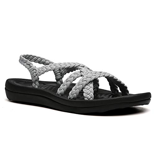 URRAX Women's Comfortable Flat Walking Sandals with Arch Support Waterproof for Walking/Hiking/Travel/Wedding/Water Spot/Beach. 19ZDUR02-W18-9