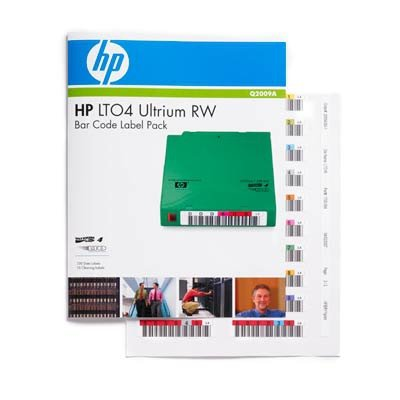HP Q2009A Ultrium 4 RW Bar Code Label Pack - Bar code labels - for HPE MSL2024, MSL4048, 1/8 G2 Tape Autoloader, LTO-4 Ultrium, StoreEver Ultrium - Labels Barcode Tape
