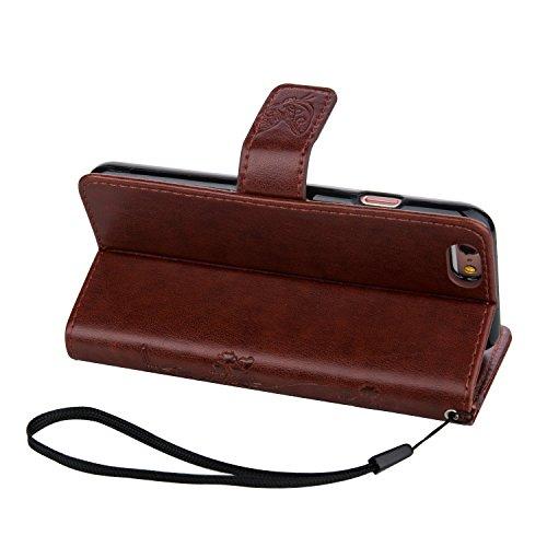 ZeWoo Folio Ledertasche - LD107 / Reifen braun - für Apple iPhone 6 plus (5.5 Zoll) PU Leder Tasche Brieftasche Case Cover