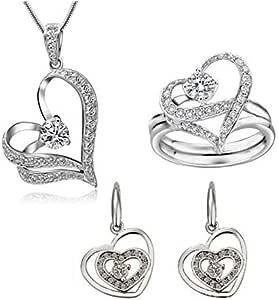 طقم مجوهرات مرصع بالكريستال الأبيض للنساء
