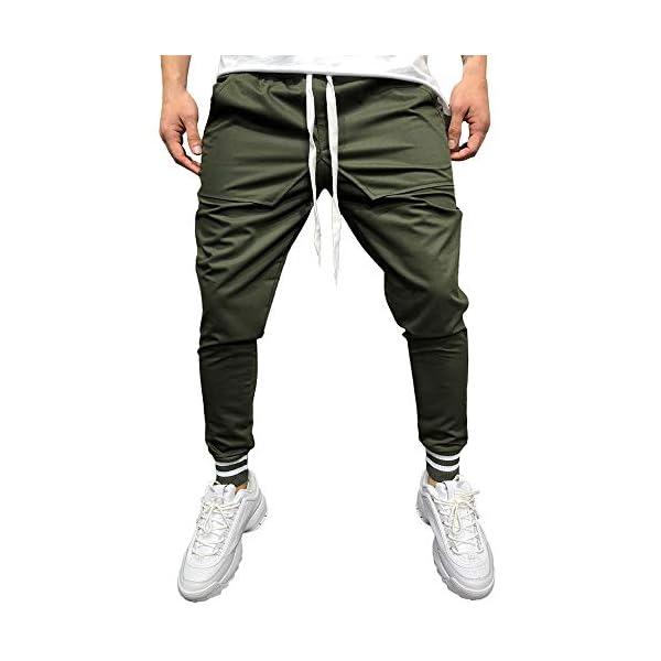 800cd1ecc Pantalones Largos para Hombre,Moda Hombres Casual sólido Suelto Patchwork  Bolsillo Pantalones de chándal pantalón Basculador