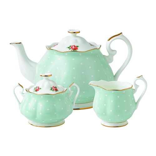 Royal Albert New Country Roses Polka Rose Tea Set, 3-Piece (China Mug Royal Bone Albert)