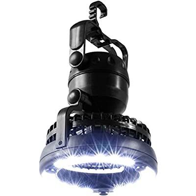 AGPtEK LED Hiking Lantern 2-in-1 Camping Lantern Emergency Light With Ceiling Fan & Hand Held Hook - Black