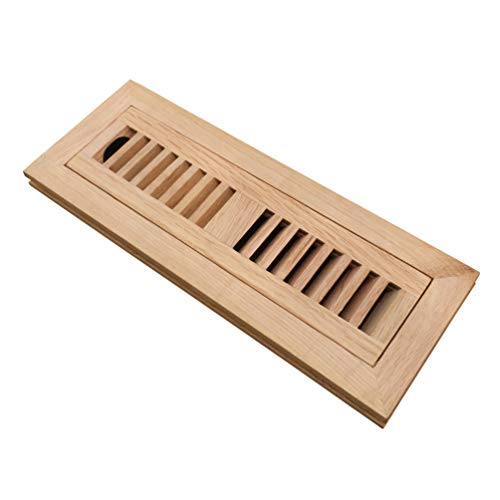 Homewell Red Oak Wood Floor Register Vent Cover, Flush Mount Vent with Damper, 2X10 Inch, Unfinished