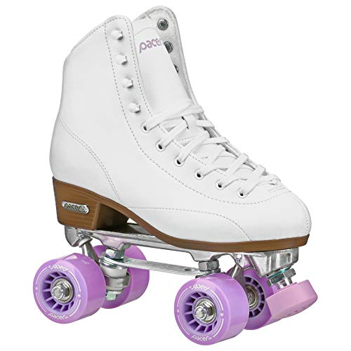 Pacer Stratos Traditional Quad Indoor Roller Rink Skates, White sz 9