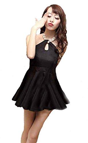 製作添付ステッチKimBerley ホルターネック フレア ミニ ワンピース ドレスライン キャバドレス ナイトドレス キャバ嬢 ファッション パール セクシー 黒