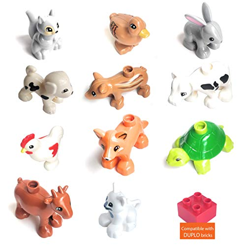 11 Farm Animals 5 Fences - Big Family Pets Figures for Toddler Boys and Girls - Duplo Compatible