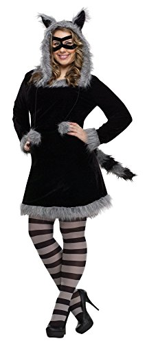 Fun World Women's Plus Size Racy Raccoon Costume, Multi Plus -