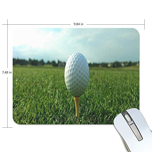 Funny Mouse Pad mice pad Personalized Golf Ball On Tee Grass Rectangle Shape Nonslip Rubber Backing for Office Computer Work