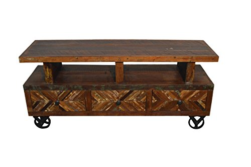 (Reclaimed Wood Rustic Entertainment Center / Plasma Cabinet / TV Stand With Wheels)