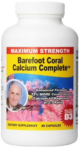 Barefoot Coral Calcium Complete 1500mg, 90 Capsules- Coral Calcium Supplement Developed by Bob Barefoot- Supports Bone Health & PH Levels- Contains Calcium, Magnesium, Vitamins
