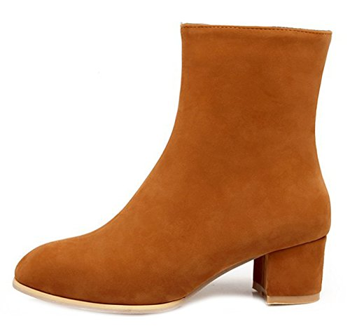 Toe Daily Faux Booties Suede Side Brown Round Aisun Women's Zipper 5THqwwt7