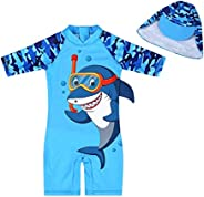 Boys Swimsuit Rash Guard UPF 50+ Sun Protection Shirts Set Dinosaur Shark Bathing Suit with Swimwear Cap