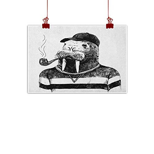 """Canvas Prints Wall Decor Art Contemporary,Sketch Artwork of a Walrus with a Pipe and Cap Dressed in Hipster Style, Black and White 24""""x20"""" for Boys Room Baby Nursery Wall Decor Kids Room Boys Gift"""