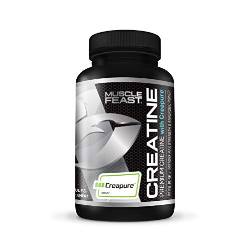 Creapure Creatine Monohydrate Capsules by Muscle Feast | Premium Pre-Workout or Post-Workout | Convenient Easy to Take Pills | Gluten-Free (750mg, 120 Capsules) (The Best Creatine To Take)