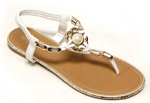 Forever Reyna-80 Dames T-strap Met Gouden Gedraaide Pearl Decors String Sandalen Wit