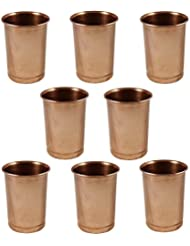 Set of 8 Glasses, Pure Copper Tumblers Ayurvedic Water Drinking Glasses, Capacity 350 Ml